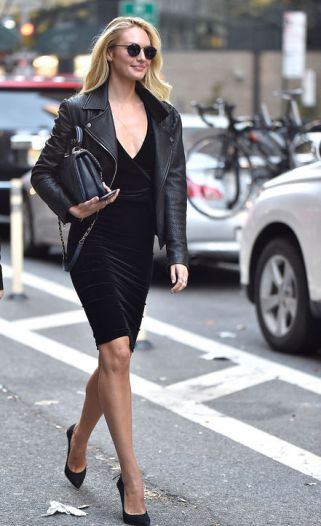 candice-swanepoel-black-dress-black-leather-jacket-style-outfit