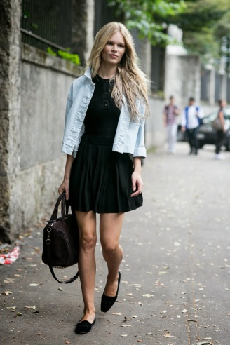 model-style-black-dress-denim-jacket-ballet-flats