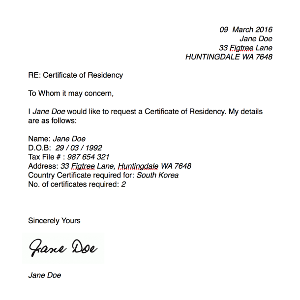 Certificate of Residency | Millicent Lambert